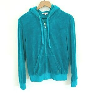 Juicy Couture Teal Velour Full Zip Track Jacket
